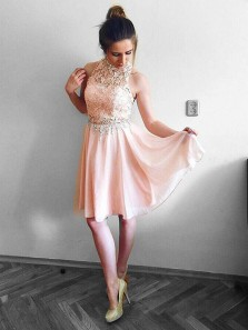 Cute A Line Halter Pink Chiffon & Lace Short Homecoming Dresses with Beading, Short Prom Dresses