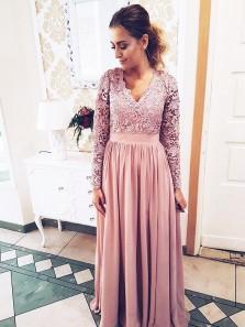 Elegant A Line V Neck Long Sleeve Lace Long Prom Dress, Formal Evening Dress, Mother of the Bride Dresses