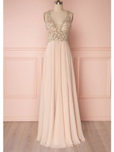 Elegant A Line V Neck Open Back Chiffon Pink Long Prom Dress, Formal Evening Dress