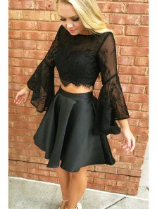Cute A Line Two Piece Scoop Backless Lace Long Sleeve Black Short Homecoming Dresses with Pocket, Little Black Dresses