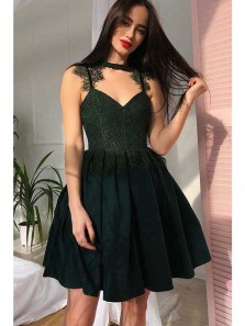 Cute A Line Sweetheart Dark Green Satin Lace Short Homecoming Dresses, Short Prom Dresses
