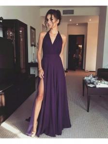 Charming A Line V Neck Open Back High Slit Purple Chiffon Long Prom Dresses, Simple Formal Evening Dresses Under 100 PD0717001