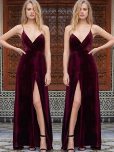 Charming Sheath V Neck Spaghetti Straps Velvet Slit Wine Long Prom Dresses, Elegant Formal Evening Dresses PD0717003