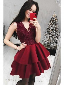 Cute A Line V Neck Open Back Lace Wine Short Homecoming Dresses, Short Prom Dresses