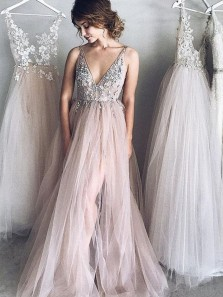 Gorgeous A Line V Neck Spaghetti Straps Tulle Pink Wedding Dresses with Beading