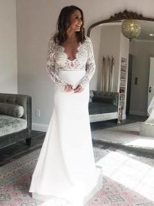 2018 Charming Sheath V Neck Open Back Long Sleeves Lace White Wedding Dresses