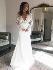 2018 Charming Sheath V Neck Open Back Long Sleeves Lace White Wedding Dresses
