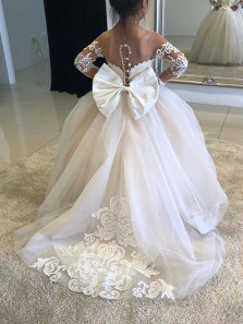 Gorgeous Ball Gown Scoop Long Sleeve Lace White Flower Girl Dresses with Bow FGD0717001