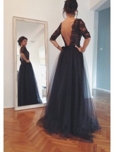 Elegant A Line Scoop Open Back Navy Lace Long Prom Dresses with Half Sleeves, Formal Evening Dresses