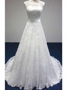 Elegant A Line Scoop Open Back White Lace Long Wedding Dresses