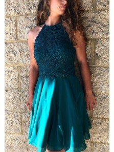 Cute A Line Halter Open Back Cross Straps Teal Short Homecoming Dresses with Applique