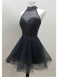 Cute A Line Halter Black Tulle Short Homecoming Dresses with Beading, Little Black Dresses, Black Graduation Dresses