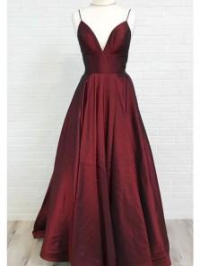 Charming A Line V Neck Wine Taffeta Long Prom Dresses with Pocket Under 100, Elegant Formal Evening Dresses PD0718005