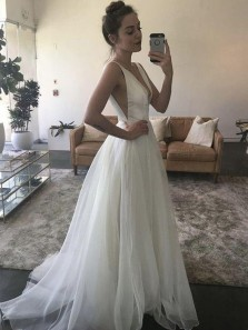 Elegant Fairy A Line V Neck Open Back White Tulle Wedding dresses with train, Beach Wedding Dress