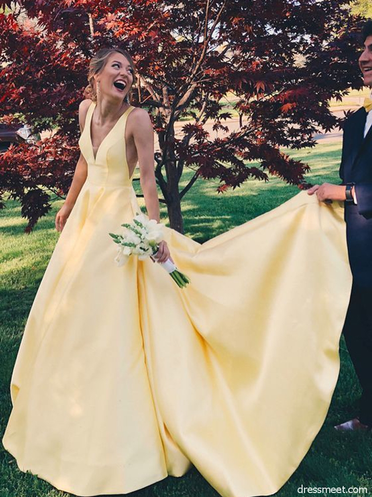 » Charming A Line V Neck Backless Yellow Satin Wedding Dresses, Formal Prom  Dresses with Pockets WD9