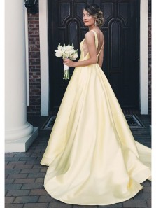 Charming A Line V Neck Backless Yellow Satin Wedding Dresses, Formal Prom Dresses with Pockets WD0718006