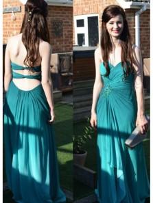 Charming Sheath Sweetheart Cross Back Chiffon Teal Long Prom Dresses, Formal Evening Dresses