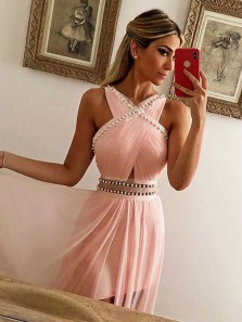 Charming A Line Halter Chiffon Pink Long Prom Dresses with Beading, Formal Evening Dresses with Train