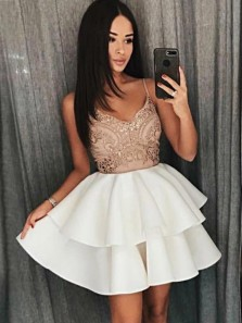 Cute A Line V Neck Spaghetti Straps Backless White Short Homecoming Dresses with Lace, Short Prom Dresses