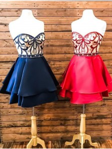 Cute A Line Sweetheart Backless Short Homecoming Dresses with Beading, Short Graduation Dresses