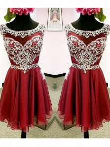 Cute A Line Scoop Open Back Wine Chiffon Homecoming Dresses with Beading HD0719003