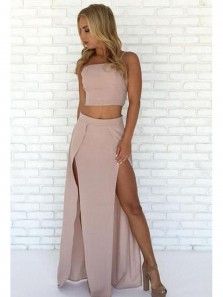 Sexy Mermaid Two Piece High Slit Sweetheart Brush Long Prom Dresses, Evening Dresses Under 100