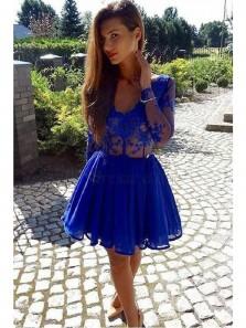 Cute A Line V Neck Open Back Long Sleeve Royal Blue Chiffon Short Homecoming Dresses