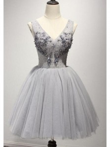 Cute A Line V Neck Backless Grey Tulle Short Homecoming Dresses with Beading, Graduation Dresses