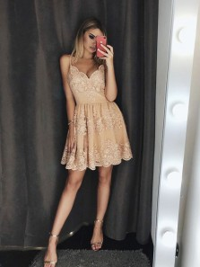 Cute A Line V Neck Spaghetti Straps Champagne Lace Short Homecoming Dresses, Formal Evening Dresses