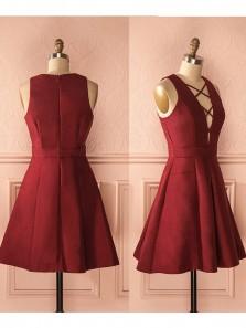 Cute A Line V Neck Wine Elastic Satin Short Homecoming Dresses, Short Prom Dresses Under 100