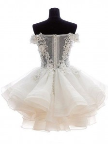 Cute A Line Off the Shoulder Fluffy Organza Ivory Lace Short Homecoming Dresses with Applique