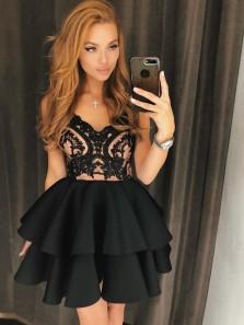 Cute A Line V Neck Backless Satin Black Lace Short Homecoming Dresses, Short Prom Dresses, Little Black Dresses HD0719014