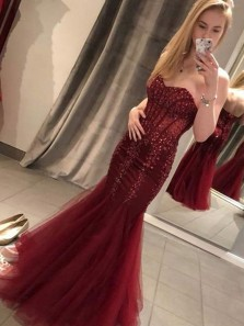 Charming Mermaid Sweetheart Backless Burgundy Tulle Prom Dresses, Sequins Applique Dresses