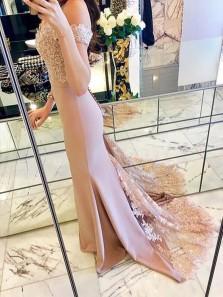 Elegant Mermaid Off the Shoulder Elastic Satin Blush Long Prom Dresses with Applique, Long Evening Dresses PD0719008