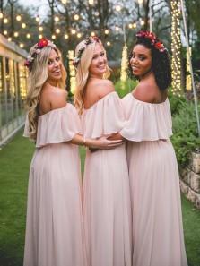 2018 Charming Sheath Off the Shoulder Pink Chiffon Bridesmaid Dresses Under 100