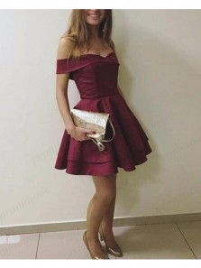 Cute A Line Off the Shoulder Burgundy Satin Short Homecoming Dresses with Pocket, Short Prom Dresses Under 100 HD0720002