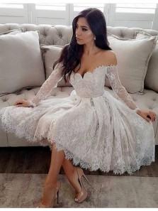 Elegant A Line Sweetheart Lace Long Sleeve White Short Homecoming Dresses, Short Prom Dresses