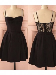 Cute A Line Sweetheat Spaghetti Straps Black Elastic Satin Short Homecoming Dresses with Lace, Little Black Dresses Under 100