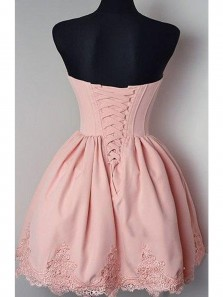 Cute and Simple A Line Sweetheart Backless Pink Elastic Satin Short Homecoming Dresses, Short Prom Dresses Under 100
