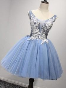 Cute A Line V Neck Backless Blue Tulle White Lace Short Homecoming Dresses, Formal Short Prom Dresses