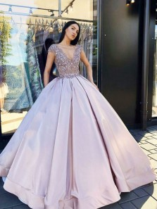 Charming Ball Gown V Neck Backless Lavender Long Prom Dresses with Beading, Formal Long Evening Dresses PD0720002