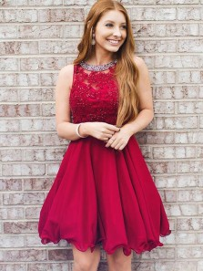 Cute A Line Round Neck Red Beaded Rose Red Short Homecoming Dresses with Applique, Formal Short Prom Dresses