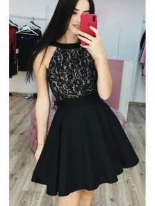 Cute A Line Round Neck Lace Black Short Homecoming Dresses, Short Little Black Dresses, Formal Short Prom Dresses HD0720011