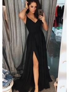 Elegant A Line Slit V Neck Open Back Black Chiffon Long Prom Dresses, Formal Evening Dresses Under 100 PD0720004