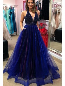 Charming and Sparkly A Line V Neck Backless Navy Blue Long Prom Dresses with Beading, Elegant Formal Evening Dresses