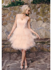 Cute A Line V Neck Backless Light Pink Tulle Short Homecoming Dresses