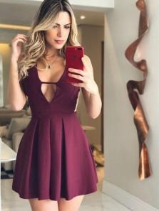 Charming A Line V Neck Backless Burgundy Elastic Satin Short Homecoming Dresses with Pocket, Sexy Short Prom Dresses Under 100