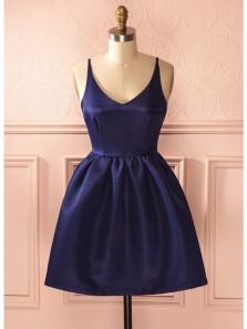 Cute A Line V Neck Backless Navy Satin Short Homecoming Dresses with Pocket, Graduation Dresses Under 100