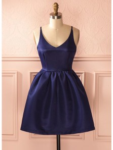 Cute A Line V Neck Backless Navy Satin Short Homecoming Dresses with Pocket, Graduation Dresses Under 100