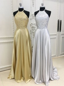 Charming A Line Halter Silvery Elastic Satin Beaded Long Prom Dresses with Pocket, Elegant Evening Dresses